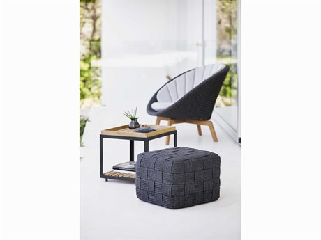 Cane Line Outdoor Peacock Teak Wicker Cushion Lounge Set