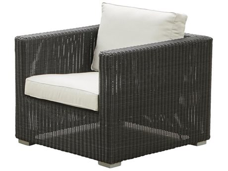 Cane Line Outdoor Chester Graphite Wicker Cushion Lounge Chair PatioLiving