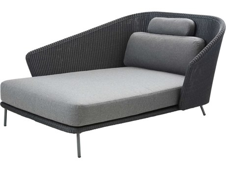 Cane Line Outdoor Mega Graphite Aluminum Wicker Cushion Lounge Bed