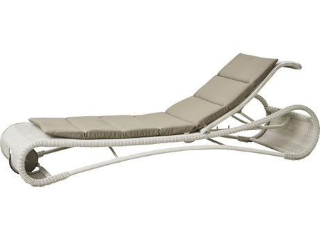 Cane Line Outdoor Escape White Grey / Taupe Aluminum Wicker Cushion Chaise Lounge PatioLiving