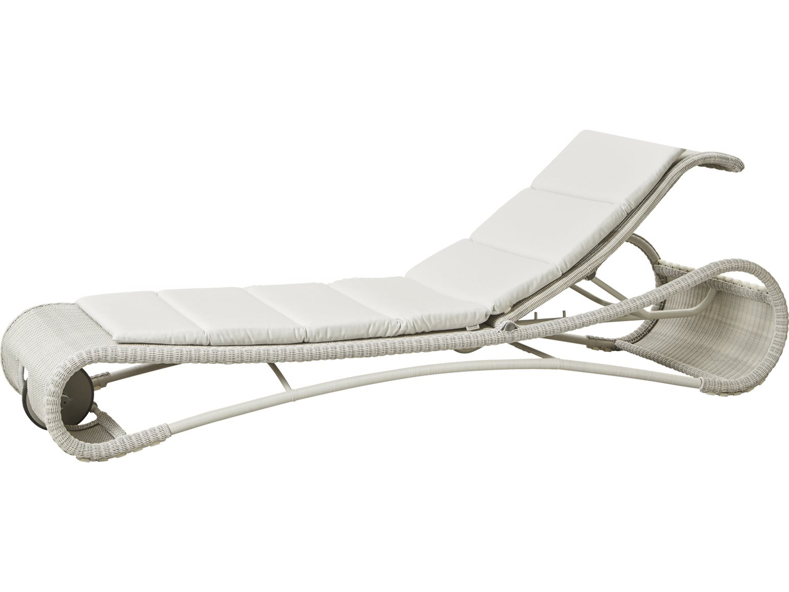 Round Folding Dining Table, Cane Line Outdoor Escape White Grey Aluminum Wicker Cushion Chaise Lounge 5523lw 5523ysn94
