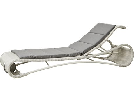 Cane Line Outdoor Escape White Grey / Aluminum Wicker Cushion Chaise Lounge PatioLiving