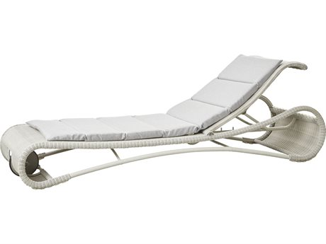 Cane Line Outdoor Escape White Grey / Light Aluminum Wicker Cushion Chaise Lounge PatioLiving