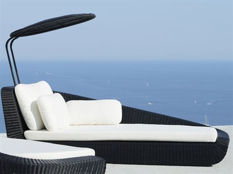 Cane Line Outdoor Savannah Black / White Wicker Chaise Lounge PatioLiving