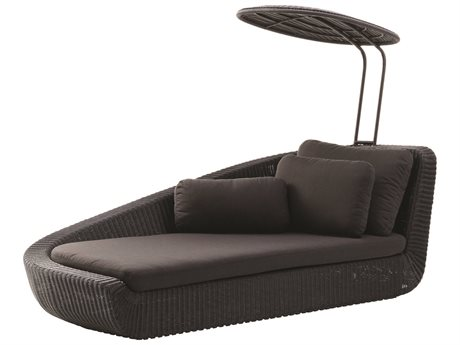 Cane Line Outdoor Savannah Black / Taupe Wicker Cushion Chaise Lounge PatioLiving