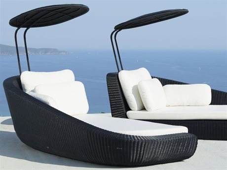 Cane Line Outdoor Savannah Black / White Wicker Cushion Chaise Lounge PatioLiving