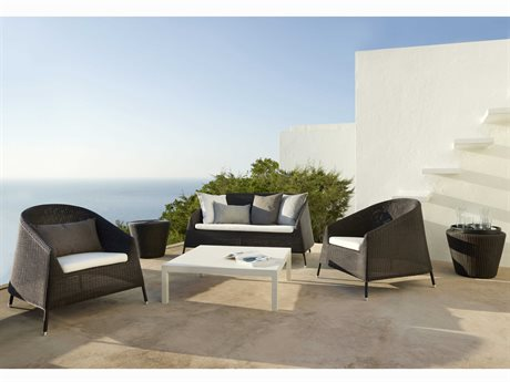 Cane Line Outdoor Kingston Aluminum Wicker Cushion Lounge Set PatioLiving