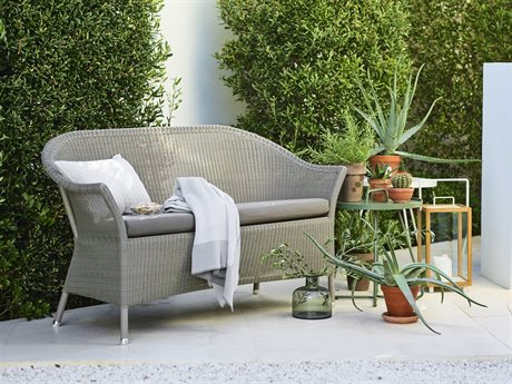 Cane Line Outdoor Lansing Aluminum Wicker Cushion Lounge Set PatioLiving