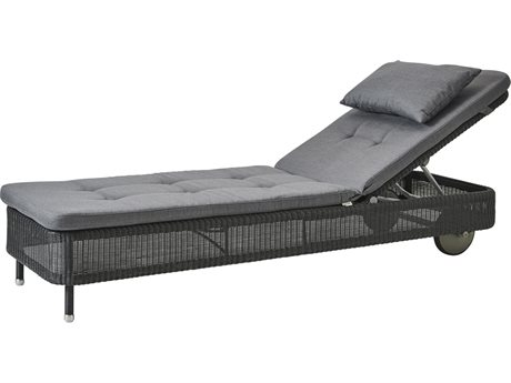 Cane Line Outdoor Presley Graphite / Grey Wicker Cushion Chaise Lounge