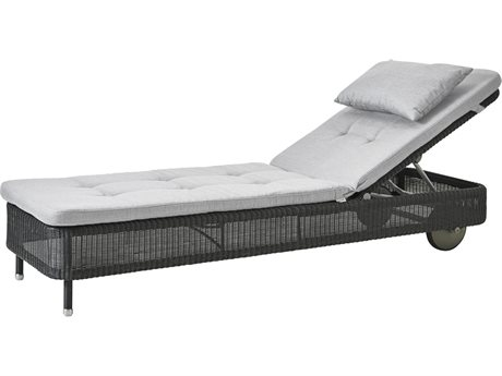 Cane Line Outdoor Presley Graphite / Light Grey Wicker Cushion Chaise Lounge