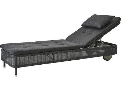Cane Line Outdoor Presley Graphite / Black Wicker Cushion Chaise Lounge PatioLiving