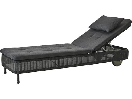 Cane Line Outdoor Presley Black Wicker Cushion Chaise Lounge PatioLiving