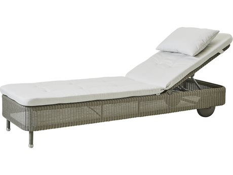 Cane Line Outdoor Presley Taupe / White Wicker Cushion Chaise Lounge PatioLiving
