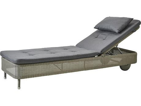 Cane Line Outdoor Presley Taupe / Grey Wicker Cushion Chaise Lounge PatioLiving