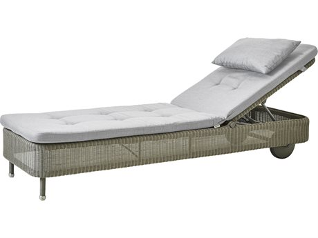 Cane Line Outdoor Presley Taupe / Light Grey Wicker Cushion Chaise Lounge PatioLiving