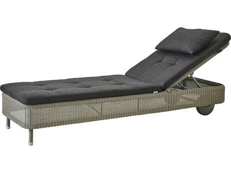 Cane Line Outdoor Presley Taupe / Black Wicker Cushion Chaise Lounge PatioLiving