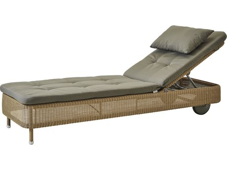 Cane Line Outdoor Presley Natural / Taupe Wicker Cushion Chaise Lounge PatioLiving