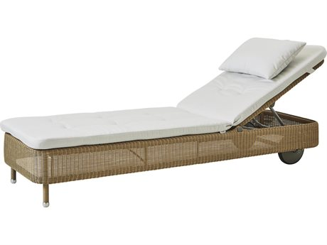 Cane Line Outdoor Presley Natural / White Wicker Cushion Chaise Lounge PatioLiving