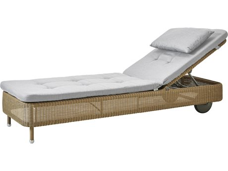 Cane Line Outdoor Presley Natural / Grey Wicker Cushion Chaise Lounge PatioLiving