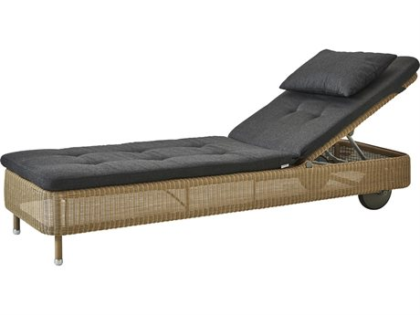 Cane Line Outdoor Presley Natural / Black Wicker Cushion Chaise Lounge PatioLiving