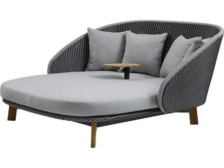 Cane Line Outdoor Peacock Grey/light Grey Cane-line Fiber Teak Wicker Cushion Lounge Bed