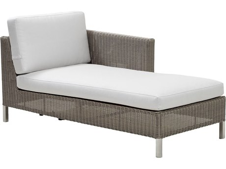 Cane Line Outdoor Connect Taupe Wicker Chaise Lounge PatioLiving