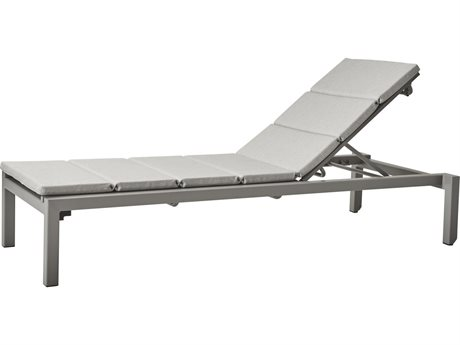 Cane Line Outdoor Relax Light Grey Aluminum Cushion Chaise Lounge