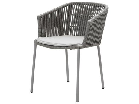 Cane Line Outdoor Moments Grey Aluminum Strap Dining Chair (Sold in 2)