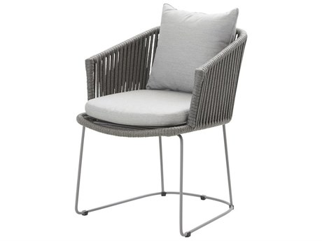 Cane Line Outdoor Moments Grey Aluminum Strap Dining Chair (Sold in 2) PatioLiving