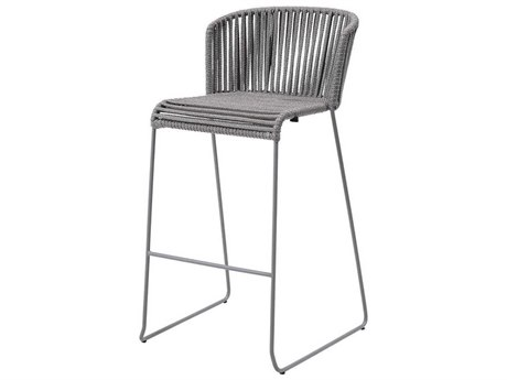 Cane Line Outdoor Moments Grey Aluminum Strap Bar Stool