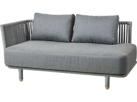 Cane Line Outdoor Moments Grey Aluminum Cushion Loveseat PatioLiving