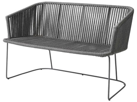 Cane Line Outdoor Moments Grey Aluminum Strap Bench PatioLiving
