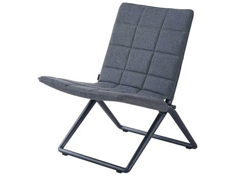 Cane Line Outdoor Traveller Grey Aluminum Cushion Lounge Chair PatioLiving