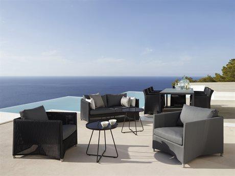 Cane Line Outdoor Diamond Aluminum Wicker Cushion Lounge Set PatioLiving