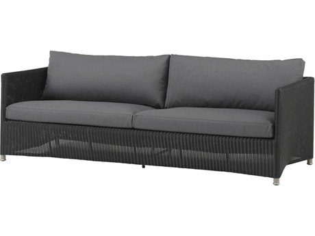 Cane Line Outdoor Diamond Graphite Aluminum Wicker Cushion Sofa PatioLiving