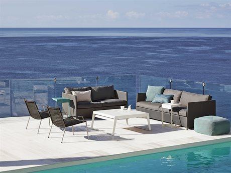 Cane Line Outdoor Diamond Aluminum Fabric Cushion Lounge Set PatioLiving