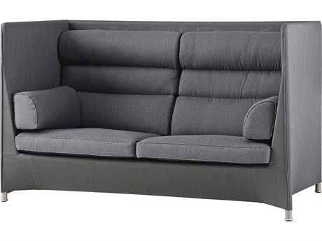 Cane Line Outdoor Diamond Grey Aluminum Cushion Loveseat