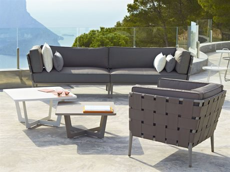 Cane Line Outdoor Conic Aluminum Cushion Lounge Set