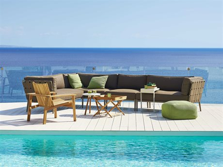 Cane Line Outdoor Conic Aluminum Cushion Teak Lounge Set PatioLiving