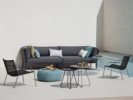 Cane Line Outdoor Conic Aluminum Cushion Lounge Set