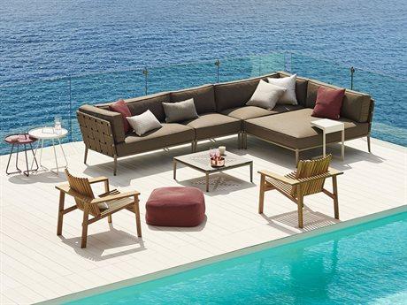 Cane Line Outdoor Conic Aluminum Cushion Lounge Set PatioLiving