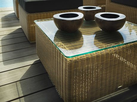 Cane Line Outdoor Clear / Natural 23'' Wide Wicker Square End Table CNOP023GGCNO5390U