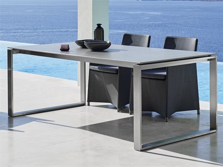 Cane Line Outdoor Edge Concrete Grey 82'' Wide Aluminum Rectangular Dining Table