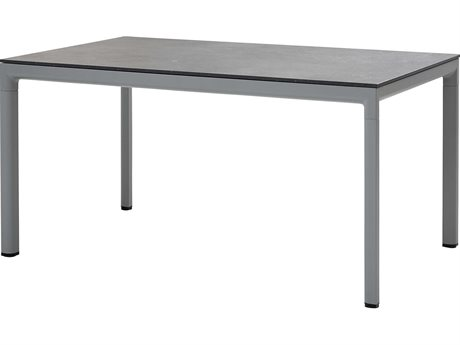 Cane Line Outdoor Fossil Black / Light Grey 59'' Wide Aluminum Rectangular Bistro Table