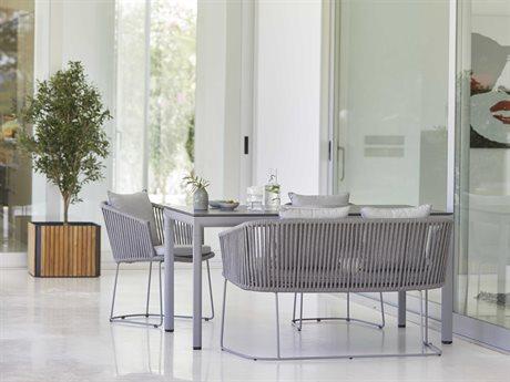 Cane Line Outdoor Aluminum Ceramic Wicker Dining Set