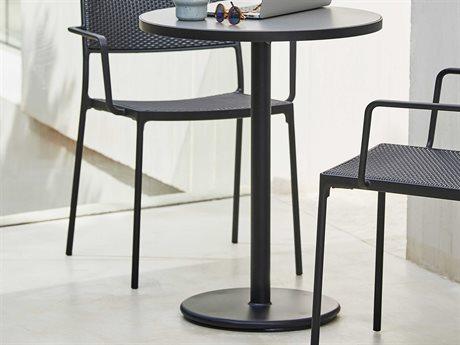 Cane Line Outdoor Light Grey / Lava 23'' Wide Aluminum Round Bistro Table CNOP061ALTII5042AL