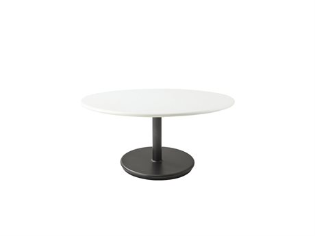 Cane Line Outdoor White / Lava Grey 31'' Wide Aluminum Round End Table