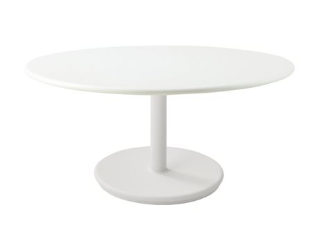 Cane Line Outdoor White 31'' Wide Aluminum Round End Table