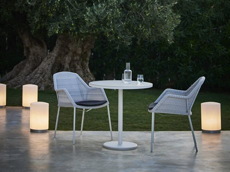 Cane Line Outdoor White / Light Grey Aluminum Wicker Dining Set