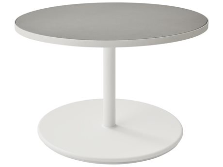 Cane Line Outdoor White / Light Grey 29'' Wide Aluminum Round Coffee Table